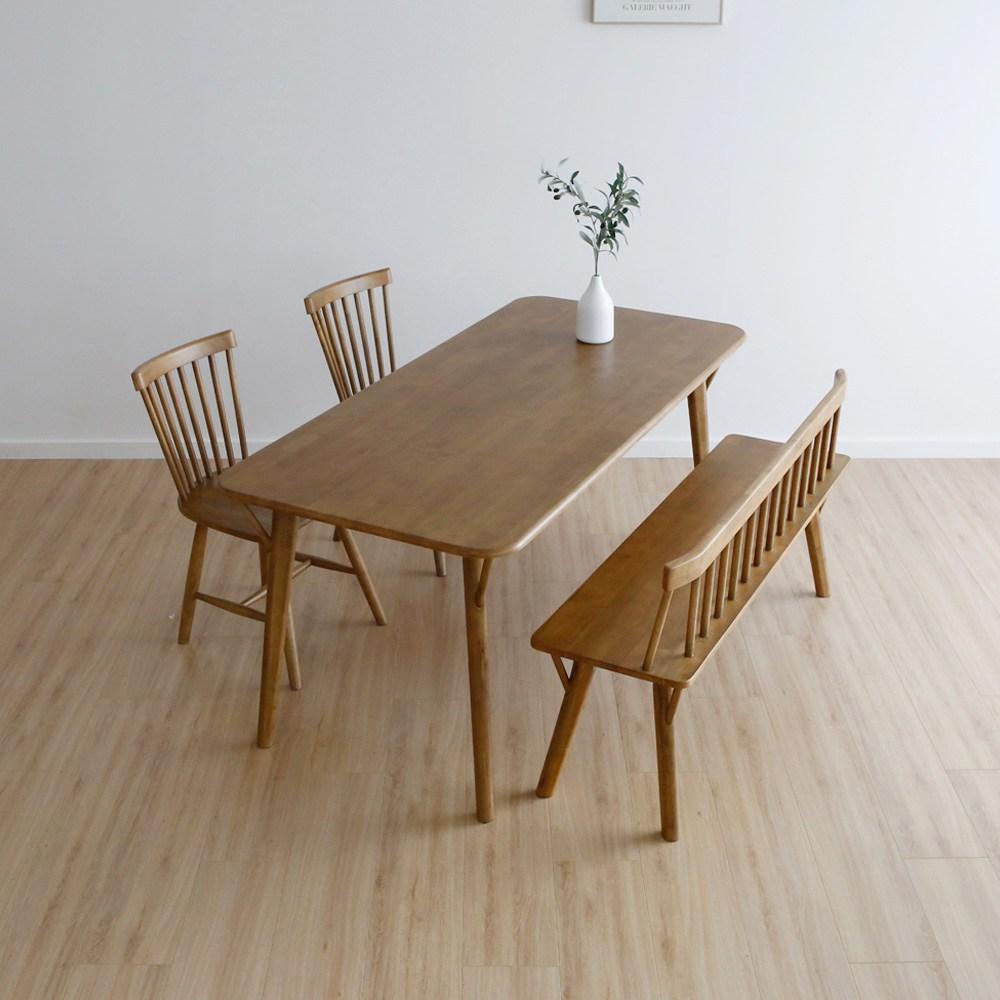 라미에스 원목 6인용 식탁 세트 제이수, 제이수식탁1+벤치1+의자2