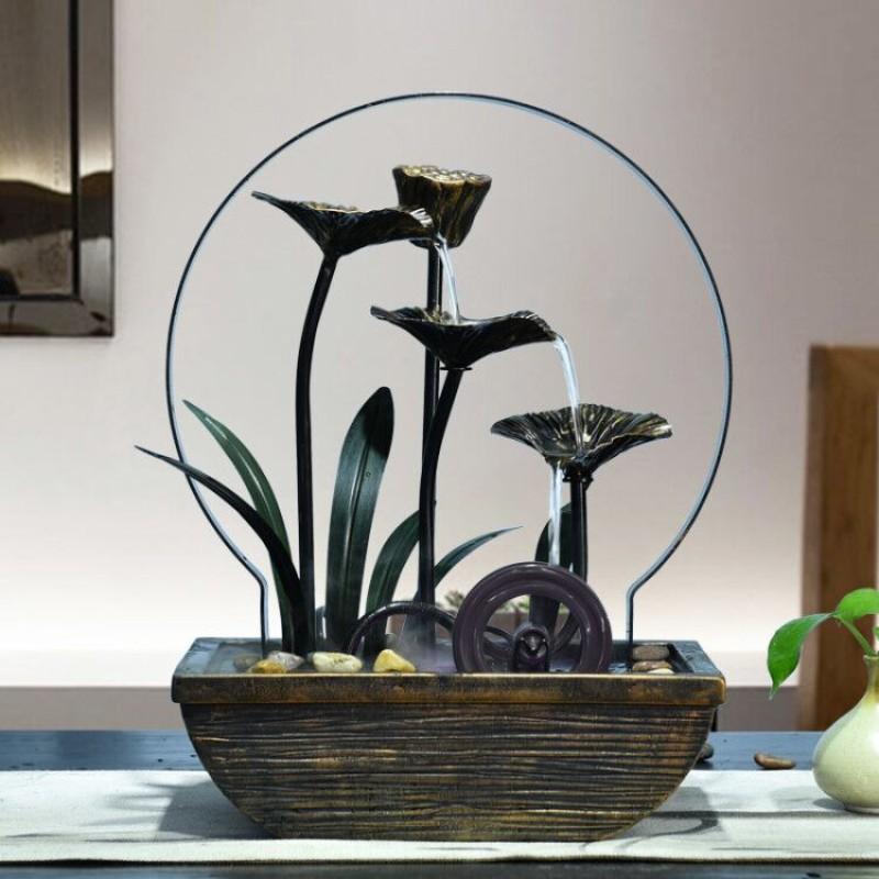 실내 연못 인테리어 장식품 정원 가정용 미니 연꽃 분수 집들이 40대 엄마 생일 선물, 안개 없는 모델 (POP 5636313107)