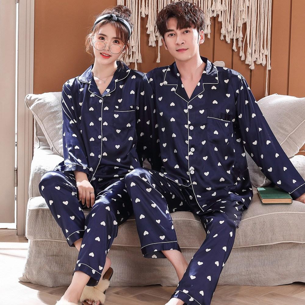 로리돌스 네이비하트 커플 잠옷