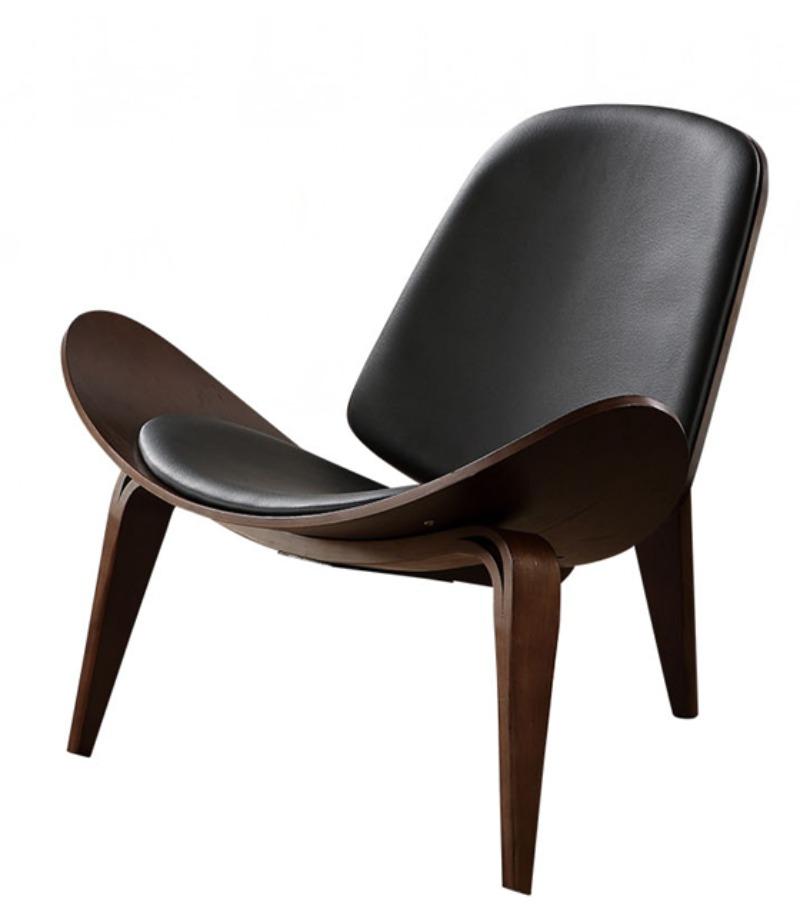 북유럽 의자 1인용 윙 라운지 체어 독서 안락 에그 벤스 의자 주문제작 북유럽 의자 INS 그물 빨간 의자 창조적 인 간단한 디자이너 단일 소파 의자 웃는 항공기 쉘 의자, 호두 프레임 + 블랙 쿠션