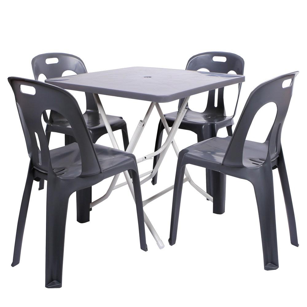 지오리빙 플라스틱 테이블 의자 세트 야외테이블세트, 사각+등받이의자(다크그레이)