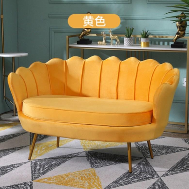 인테리어 거실 카페 업소용 디자인 미용실 미니 쇼파 소파 북유럽 매장 1 2 3 인용, 2인용 더블 150cm + 노랑