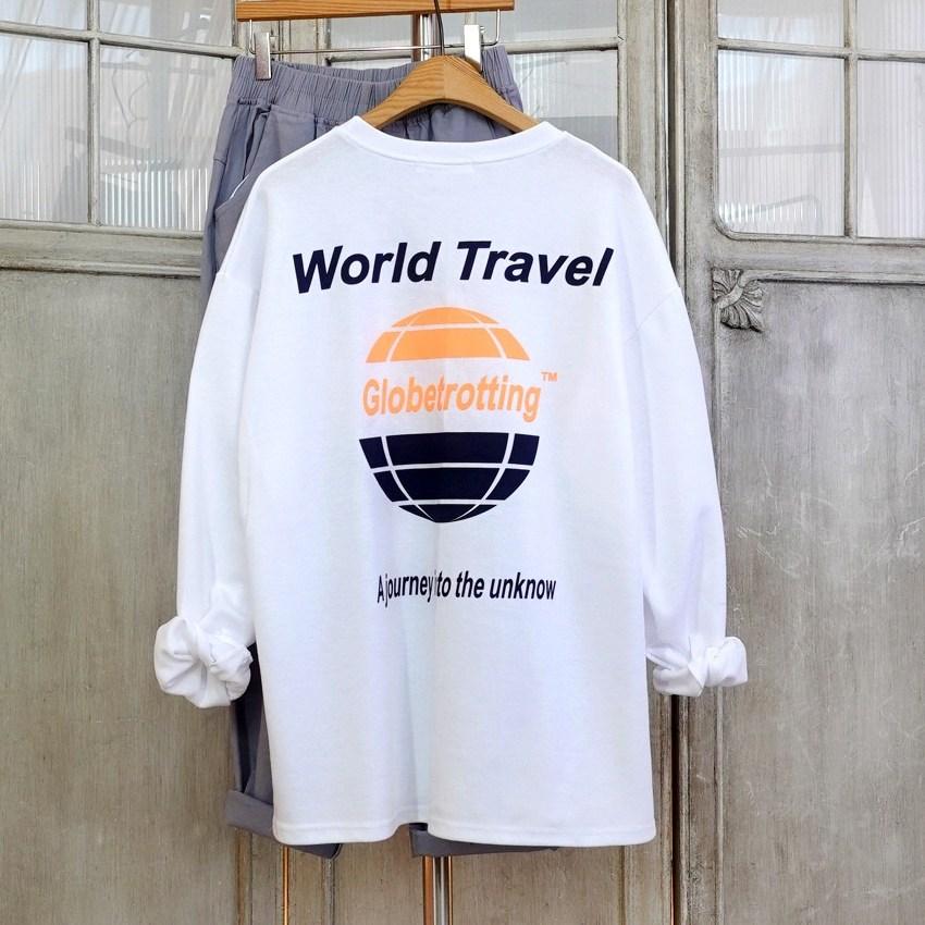 이힝 글로브 프린팅 루즈핏 긴팔 롱티셔츠 티셔츠