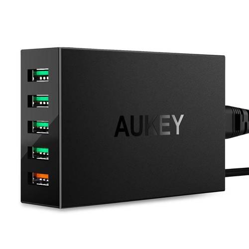 AUKEY 빠른 충전 3.0 휴대 전화 충전기 5 포트 USB 벽 충전기 54W USB 어댑