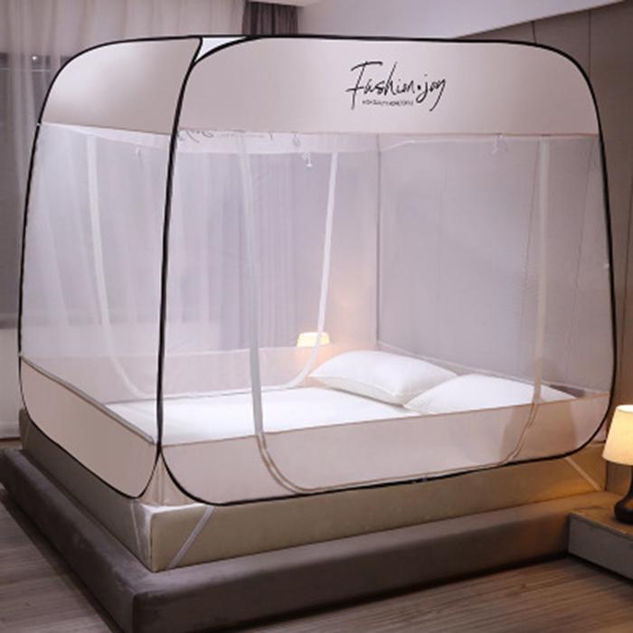 집사를 위한 간편 원터치 침대 텐트 방충망 사각 모기장 모기퇴치기, 핑크