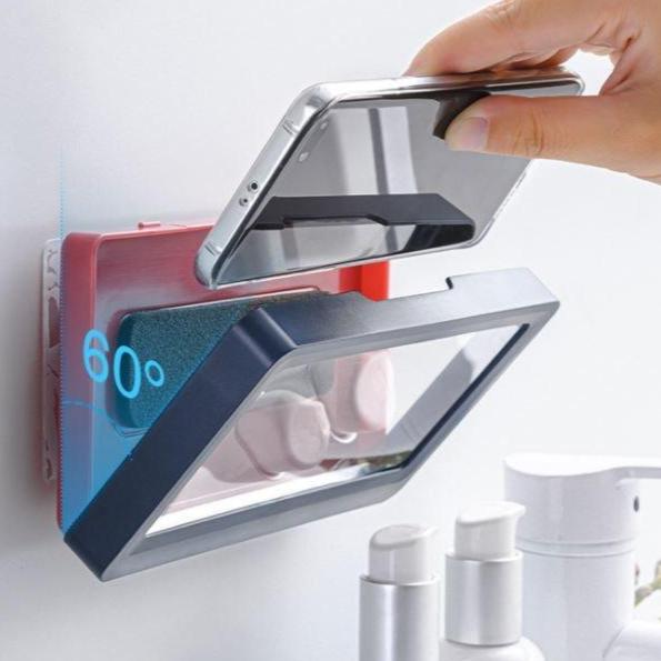 월드마켓 터치식 방수형 부착식 욕실 핸드폰 거치대 케이스 주방선반 욕실 다용도 선반, 방수폰-딥블루