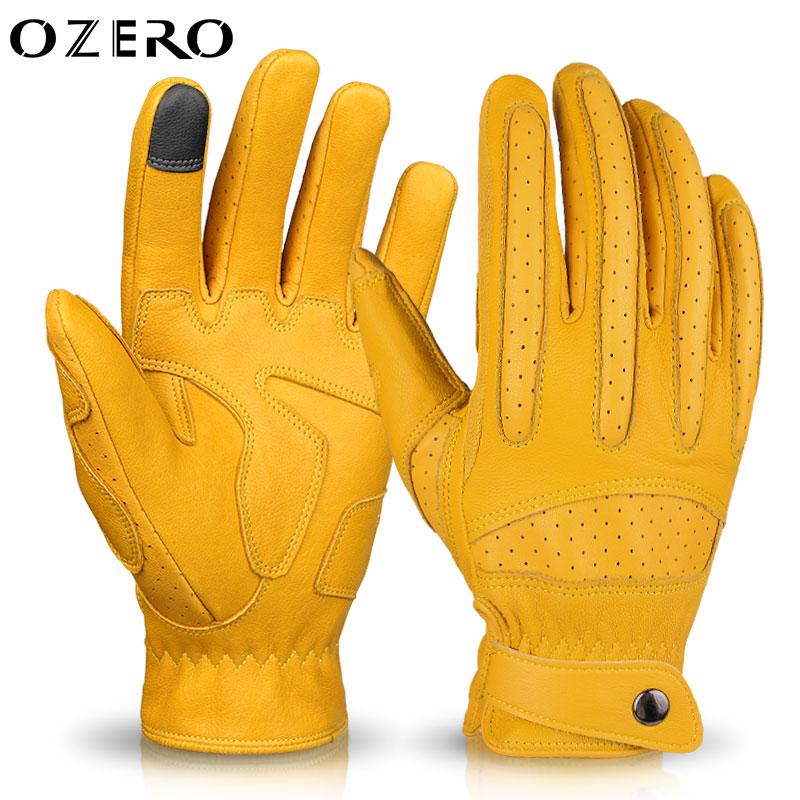 OZERO 오제로 오토바이 장갑 양가죽 터치 장갑 바이크 매쉬장갑 레이싱 글러브 남녀공용(A5035), 옐로우