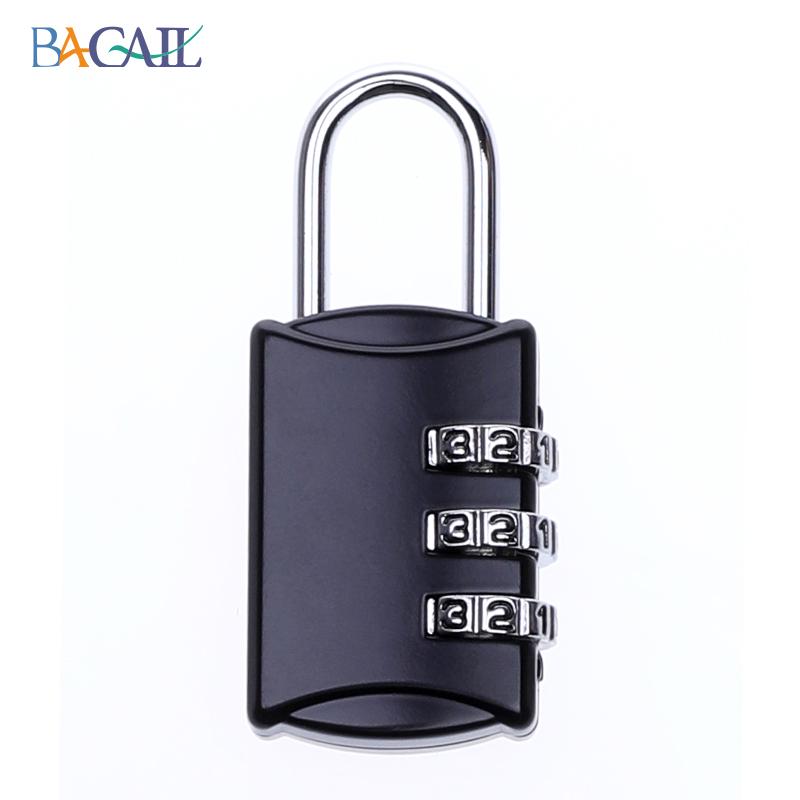 도어락 비밀번호잠금장치 자물쇠 가정용 여행가방, T01-아연합금 3개조 블랙