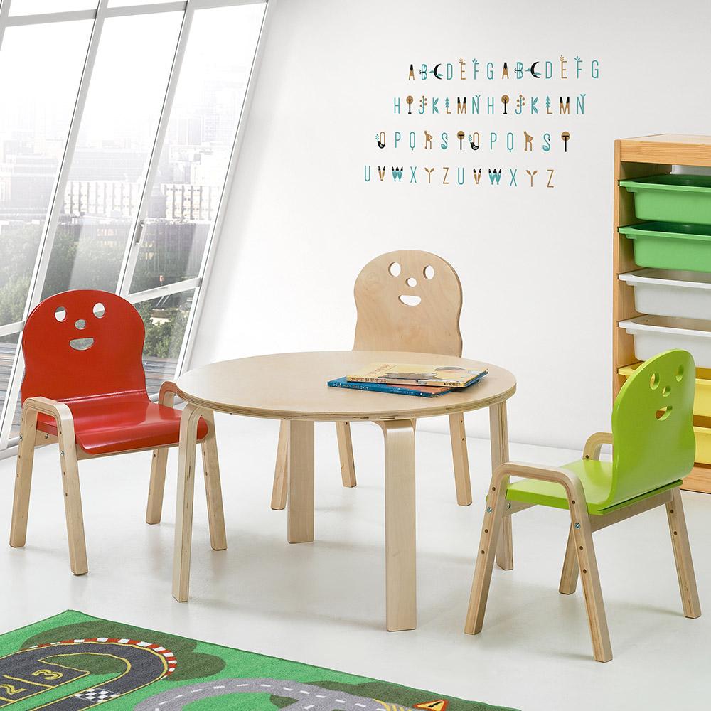 토리 원목 유아 신형의자 원형 책상세트 2-7세, 유아 원형 분홍 책상 / 신형의자 연두 2개