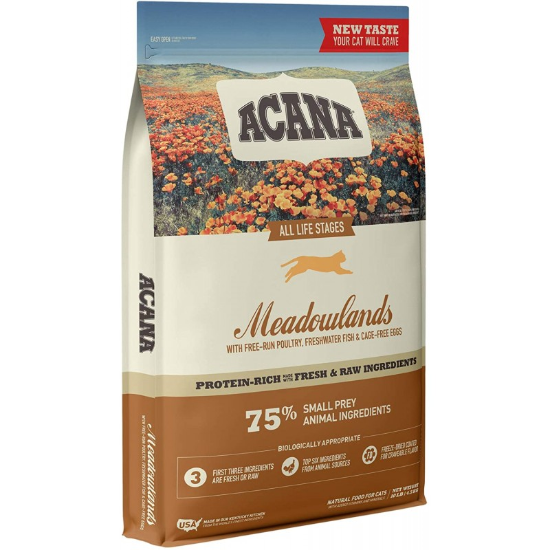 ACANA Cat Meadowlands 10 LB 단백질이 풍부한 진짜 고기 마른 고양이 사료 (CAC3411-10)