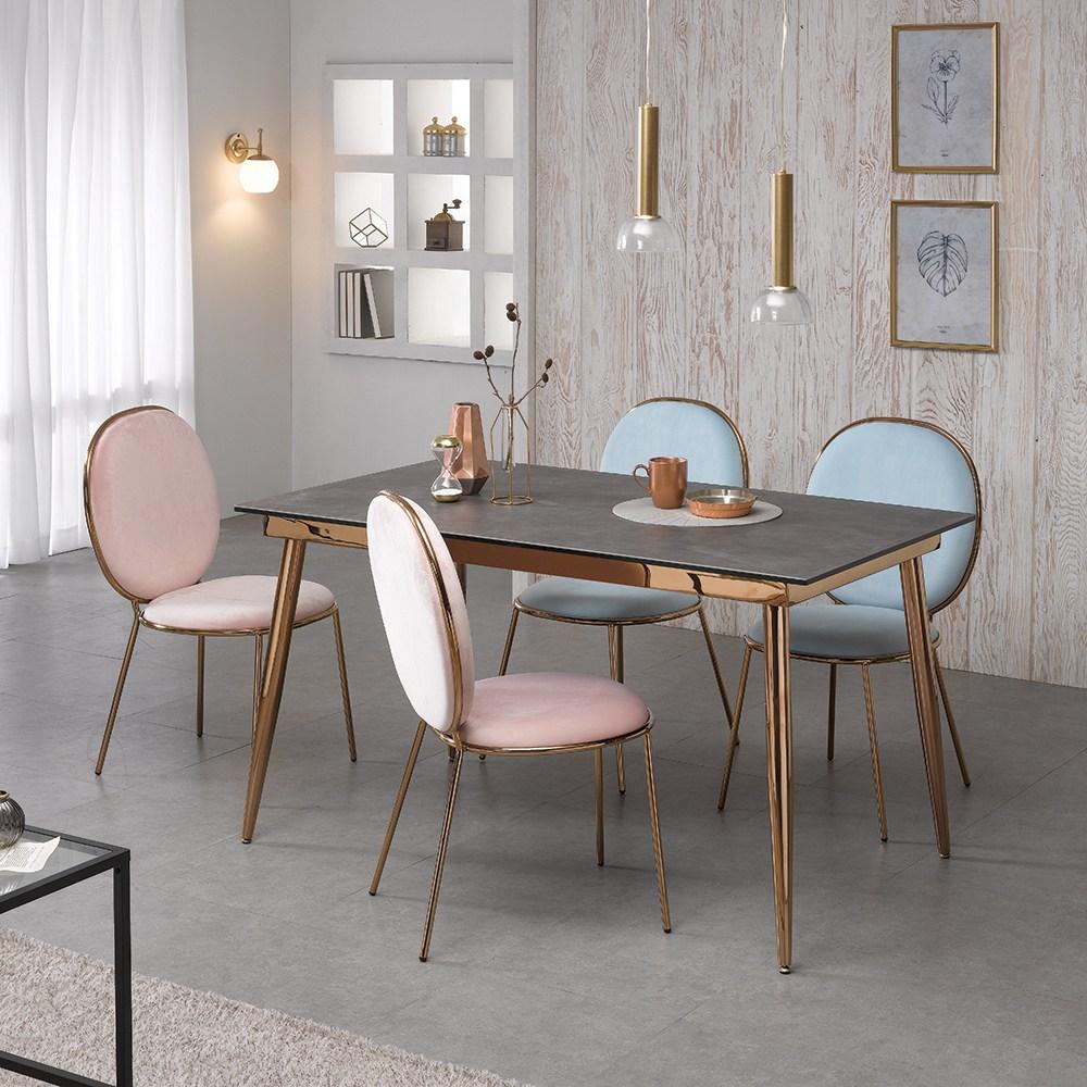[로드퍼니처] 골드문 이태리 세라믹 식탁세트 /4인용/6인용, 1200사이즈-그레이 상판+의자(핑크)