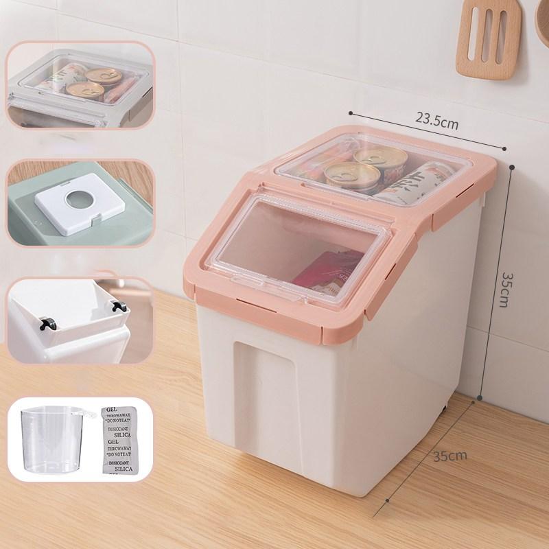 칠나무 고양이 용품 습기차단 강아지 사료통 사료보관통 대용량 YPmao0628-18, 10000ml, 핑크-대
