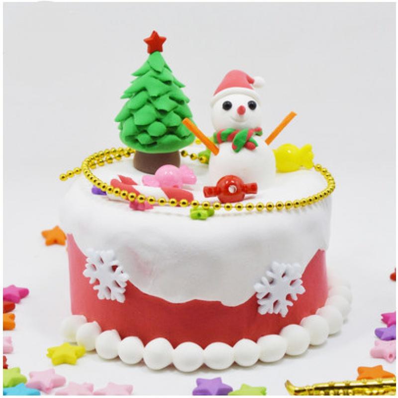 DIY 핸드메이드 제작 라이크 케익 초경량 종이 화이바 크림 토과 된장 음식을 먹고 놀다, 숏 눈사람 4인치