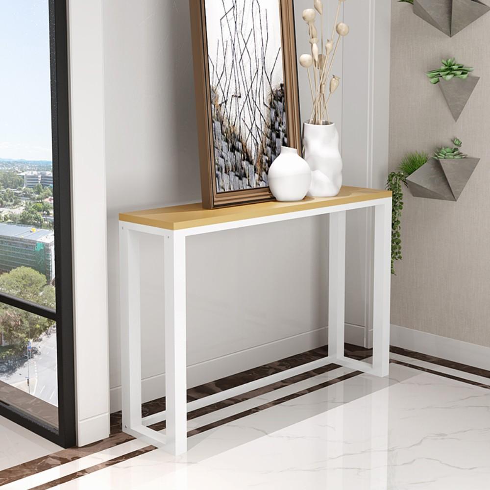 베란다 스벅 벽 폭좁은 틈새 슬림 원목 창가 좁고 긴 침대 사이드 테이블 책장 책상 선반, [길이 100 폭 30 높이 80] 흰색 프레임 원목