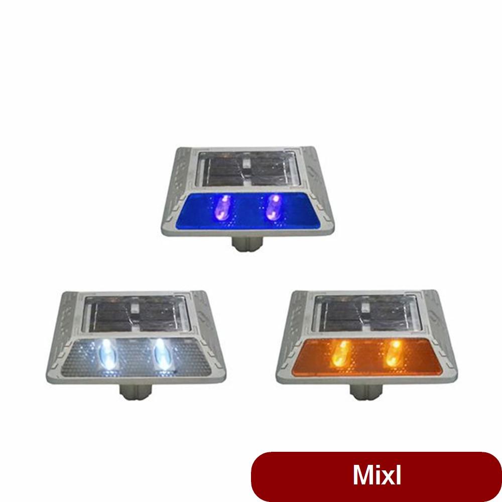 도로안전 필수품 다양한 LED 색상 쏠라 표지병 용품 바닥등 매립등 고휘도 태양광 황색, 1개