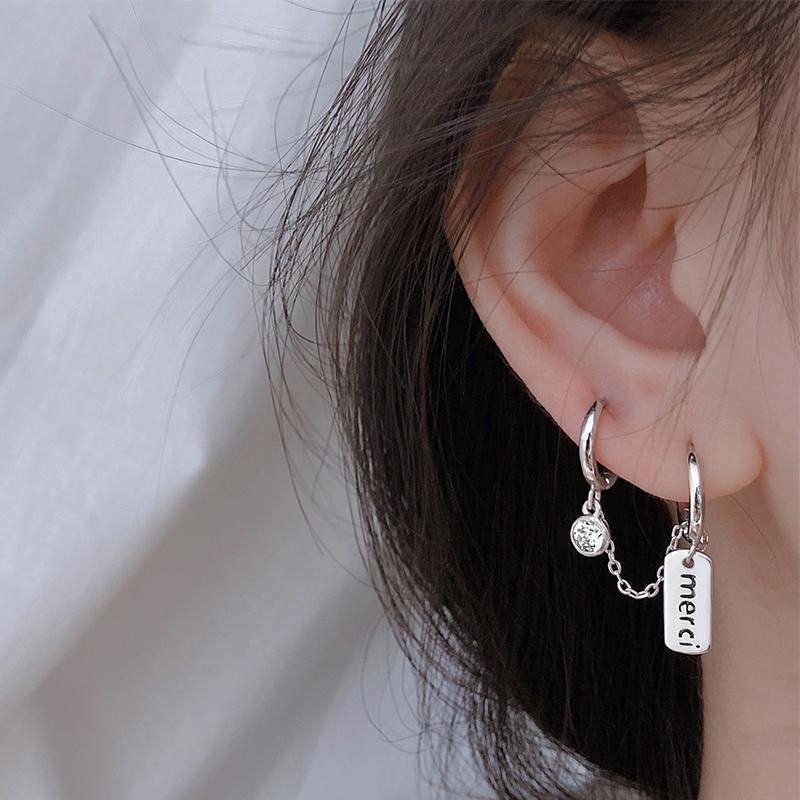 Xiaobao Sterling Silver Jewelry S925 스털링 실버 더블 피어싱 체인 귀걸이 트렌드