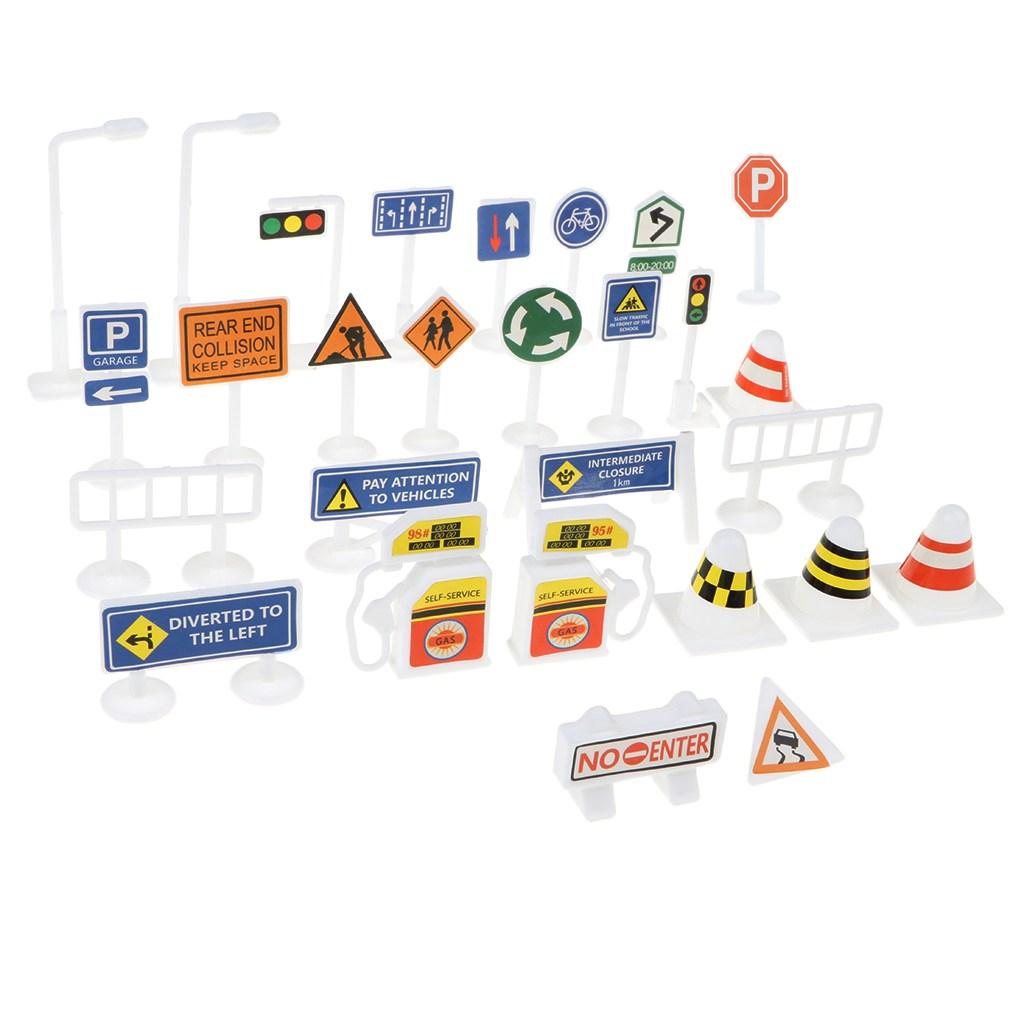 FWT 28pcs 블록 놀이 교통 표지판-어린이 교육 완구 어린이 블록 놀이
