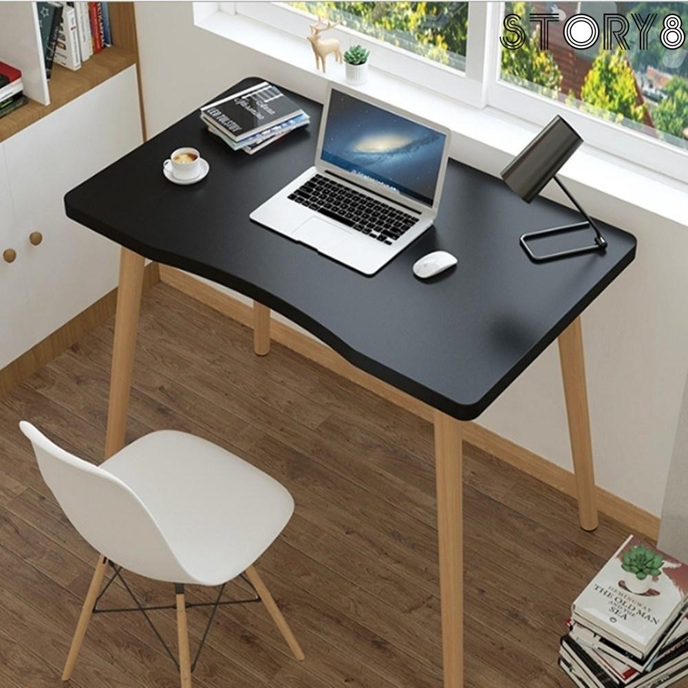 사무용 화이트 책상 작은 소형 조립 1인용 공부방 서재 간이 미니 자취방 원룸 책상 테이블 3색, 70cm, 블랙