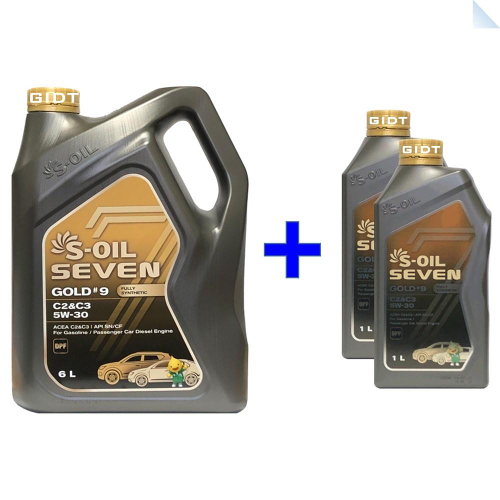 에스오일 세븐골드 S-OIL 7 Gold 5W30 6L 1L Set 100% 합성 엔진오일, 1set, S-OIL 7 Gold 5W-30 6L_1개+1L_2개