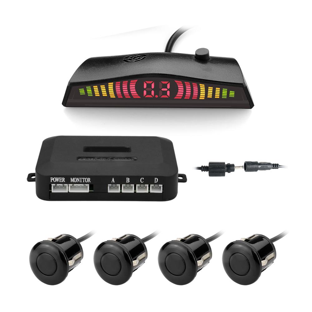 자동차 Parktronic 자동 주차 센서 4구 센서 차량용 역방향 백업 주차 레이더 모니터 감지기 시스템 디스플레이 자동차 후방감지기 센서, 검정