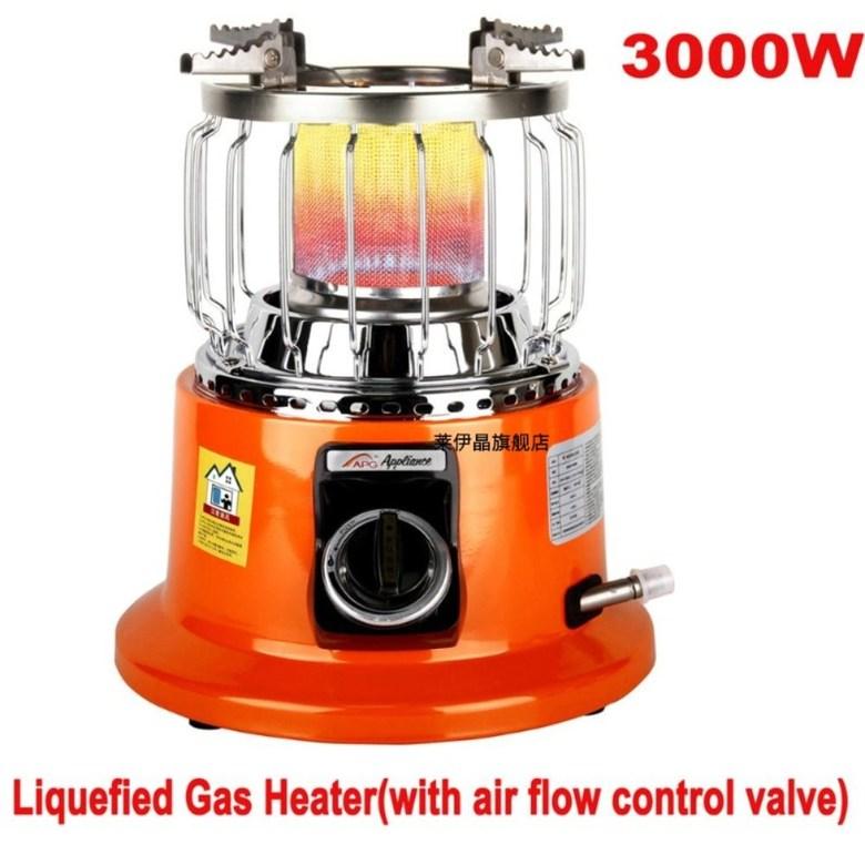 2 In 1 휴대용 차박난방 캠핑난로 및 요리버너 겸용 가스히터, 3000W 히터 버너(공기조절기있음)