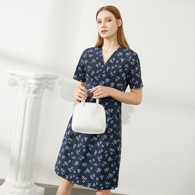 여성 여름 원피스 BEANPOLE 암보 2021 여름 신상품 레이디스 프린트 V넥 원피스는 허리와 여름의 새로운 (POP 5886427793)