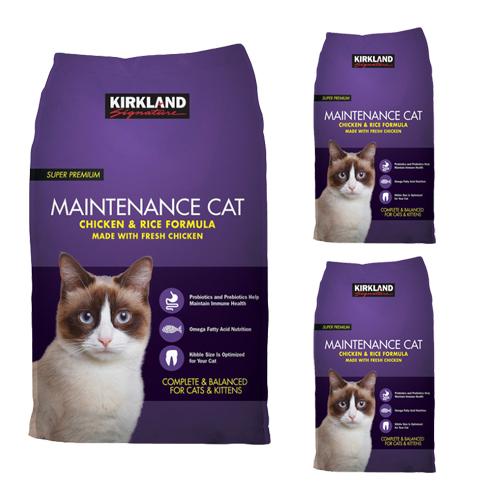 커클랜드시그니춰 슈퍼 프리미엄 메인터넌스 치킨 앤 라이스 고양이 사료, 11.34kg, 3개