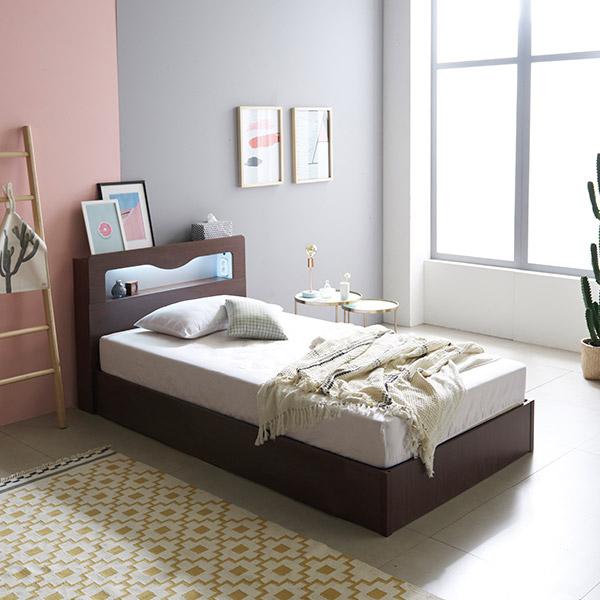 삼익가구 로이 슈퍼싱글/퀸 LED 침대 + 본넬 매트리스 포함, 월넛