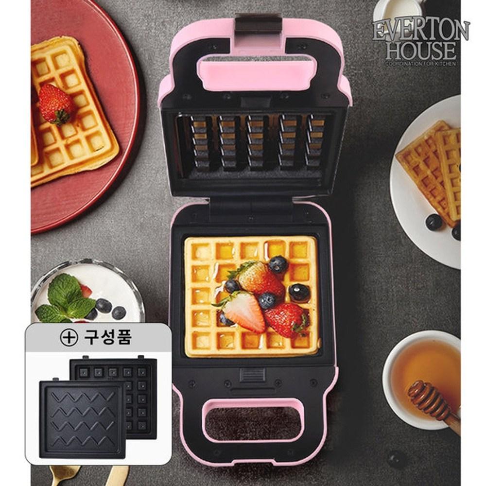 에버튼하우스 와플메이커 샌드위치메이커 분리형 간식제조기 와플기, 핑크