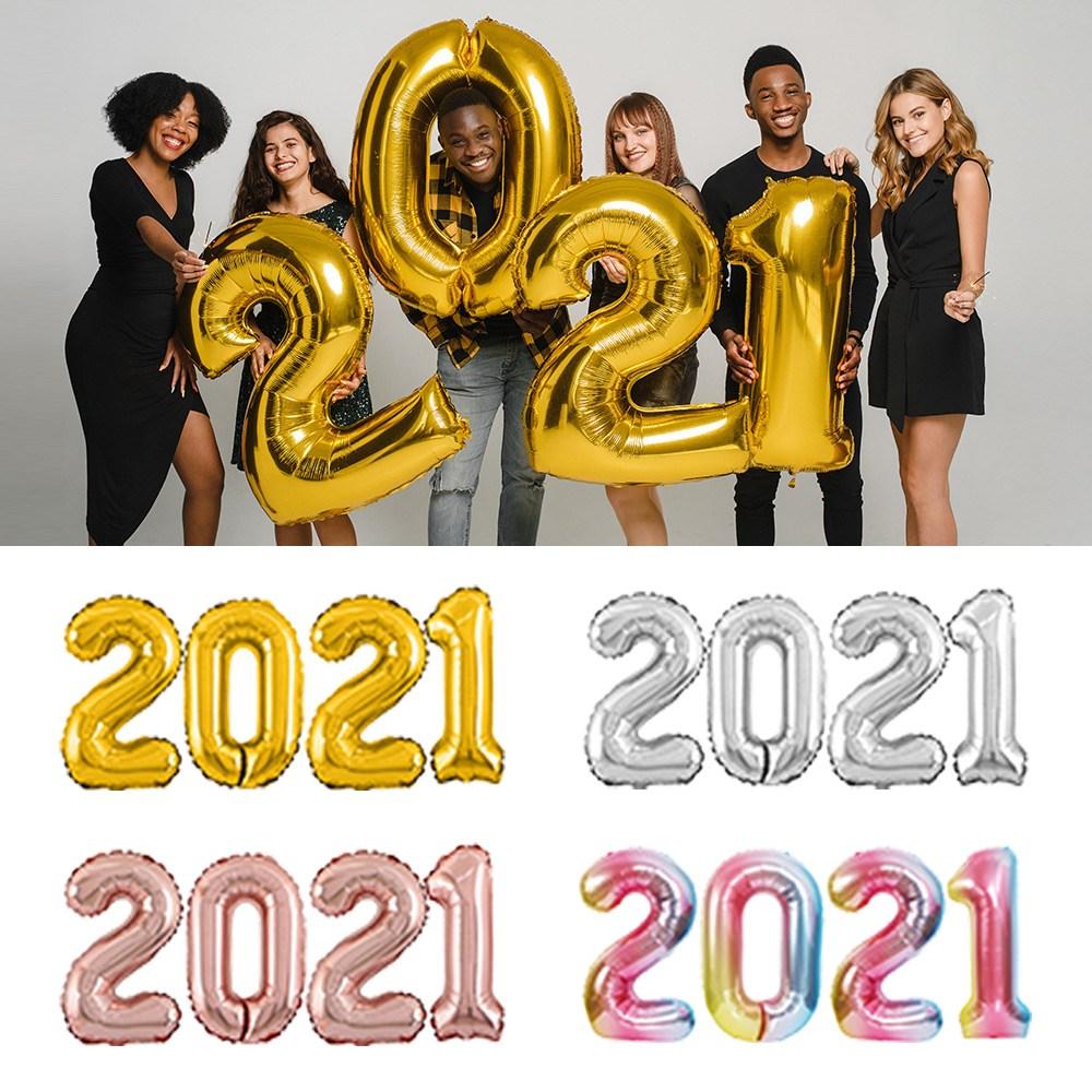 2021 숫자 대 은박풍선 기념일 데코 파티소품, 01_2021(대)_골드, 2021(대)