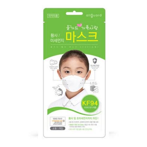 올가드 어린이 미세먼지 방역마스크 KF94 소형 흰색 100매 황사/비말/초미세먼지