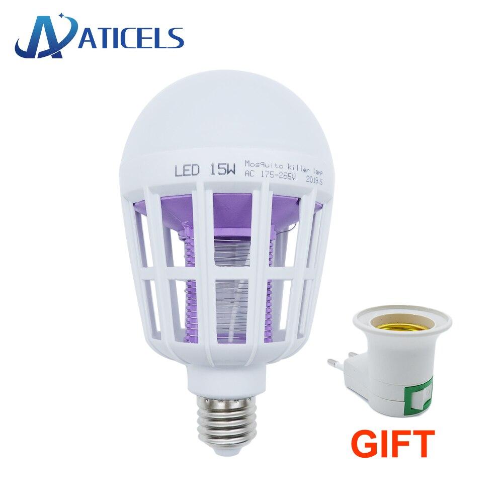 Ac175 ~ 220 v led 모기 킬러 램프 2 모드 e27 led 전구 홈 곤충 안티 모기 버그 zapper 야간 조명, 1개, 단일