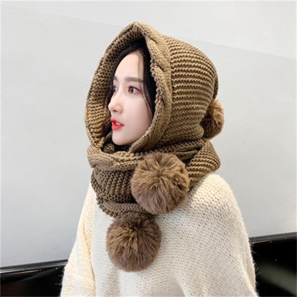 리앤킴 여성 손뜨개 모자 일체형 털 방울 목도리 lnk569