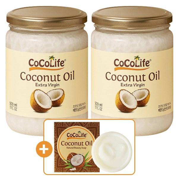 코코라이프 엑스트라버진 코코넛오일 500ml 2개+코코넛오일 비누1개, 2개