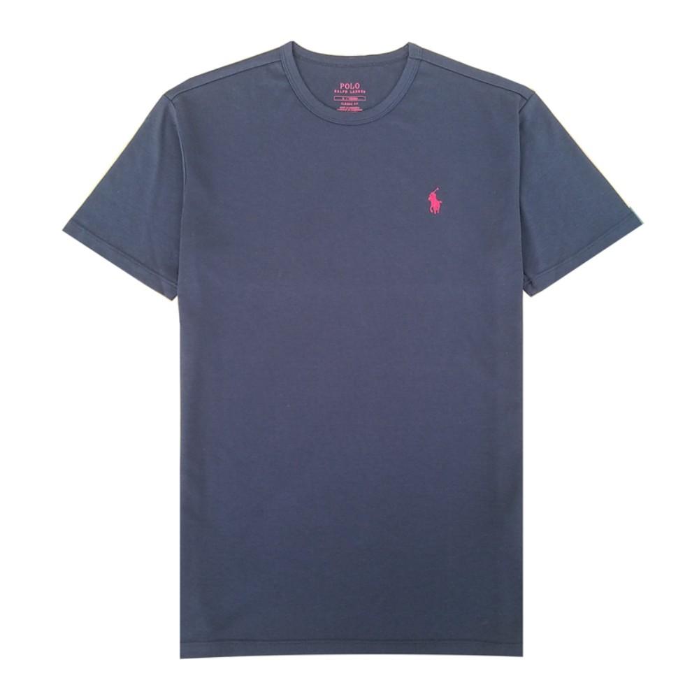 해외직구 클래식 핏 남성 폴로 라운드 넥 티셔츠 비즈니스 캐주얼 네이비 반팔티