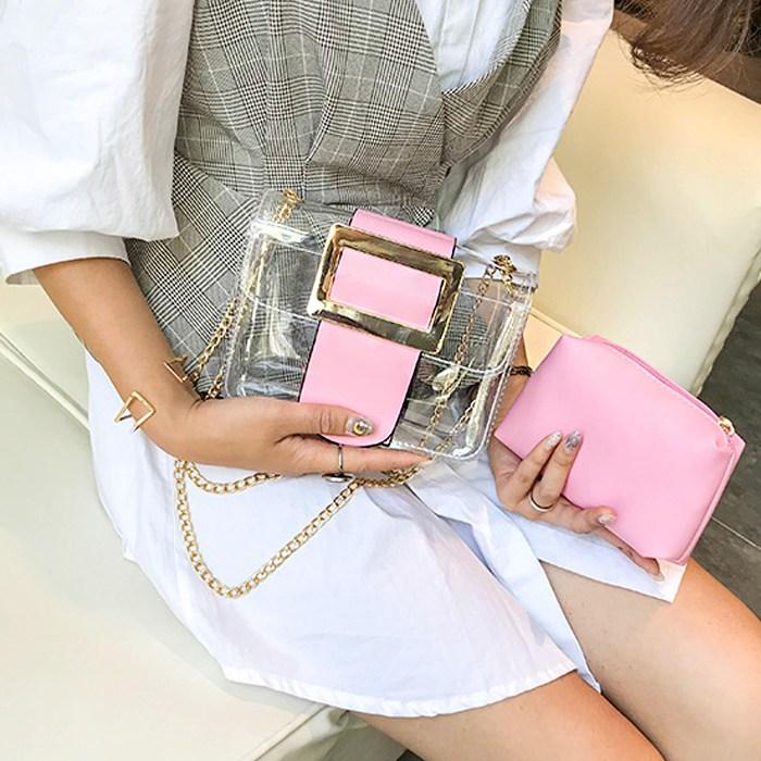 데이빈스 버클 투명 크로스백 여성가방 PVC가방 투명가방