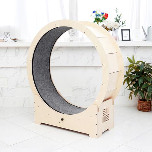 우디캣 클래식 원목 오픈형 캣휠 캣타워, 1개, 아이보리