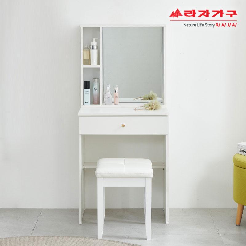 라자가구 위드 심플 600 화장대 스툴 의자 세트 cw131, 아이보리+화이트스툴
