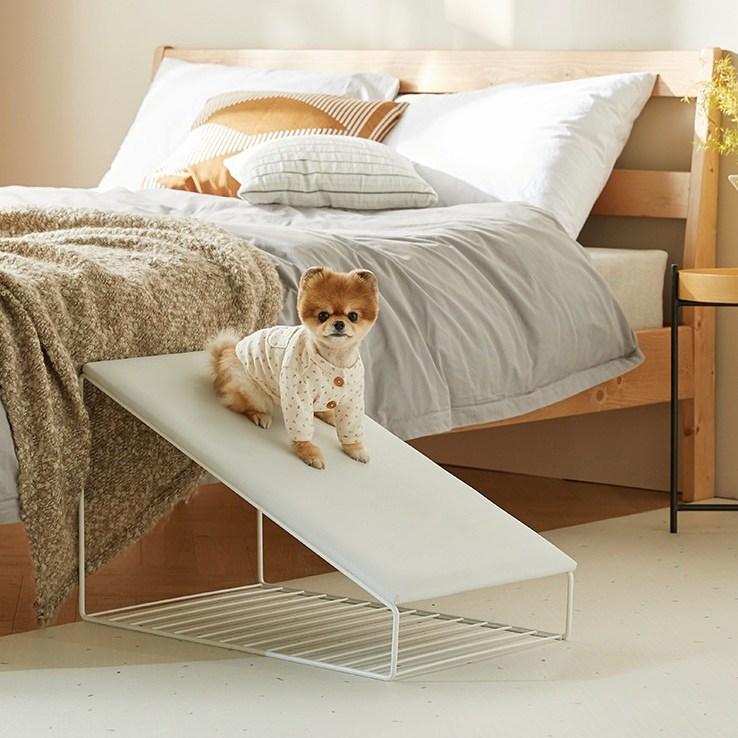 펫토 클린펫 슬라이드 계단 - 강아지 고양이 슬개골 보호 미끄럼방지 논슬립 스텝, 화이트
