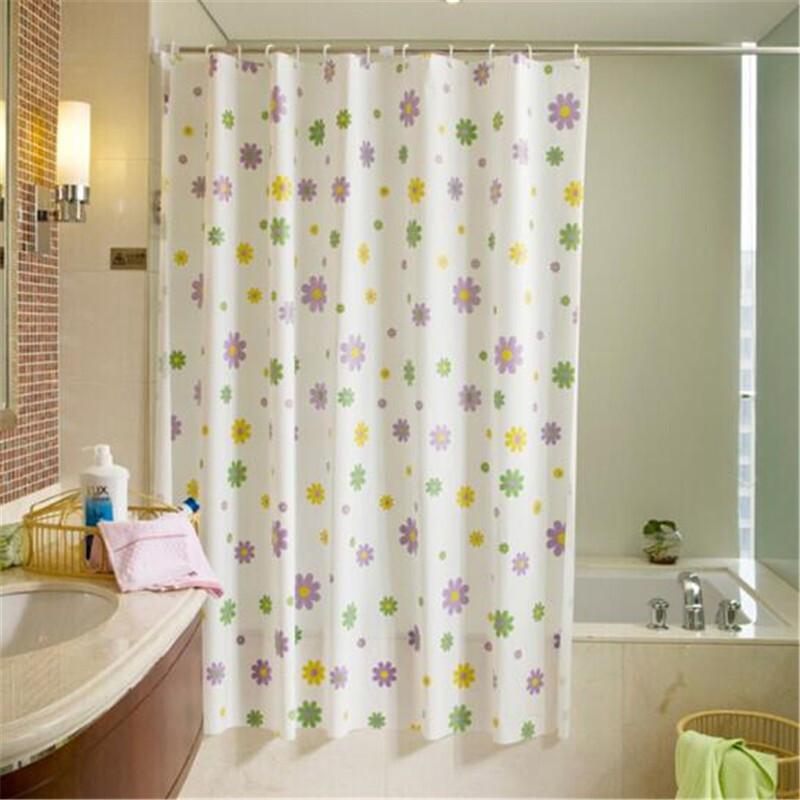 샤워 커튼 그라인더 샌 드 플라스틱 방수 방수 곰팡이 방 안개 목욕 커튼 천 샤워 커튼 천 12 개 후크 보랏빛 꽃 (180 * 200 cm, 상세페이지 참조