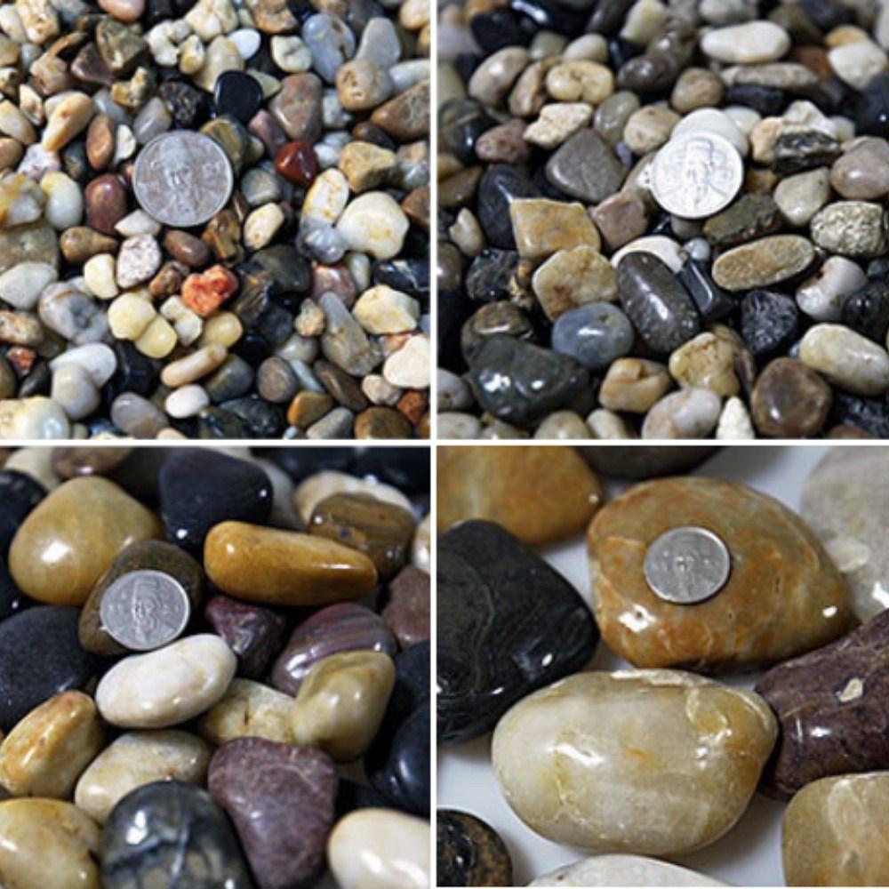 우화석 강자갈 콩자갈 에그스톤 돌맹이 혼합유광 15kg, 우화석 혼합 광택(유광) 15kg 대