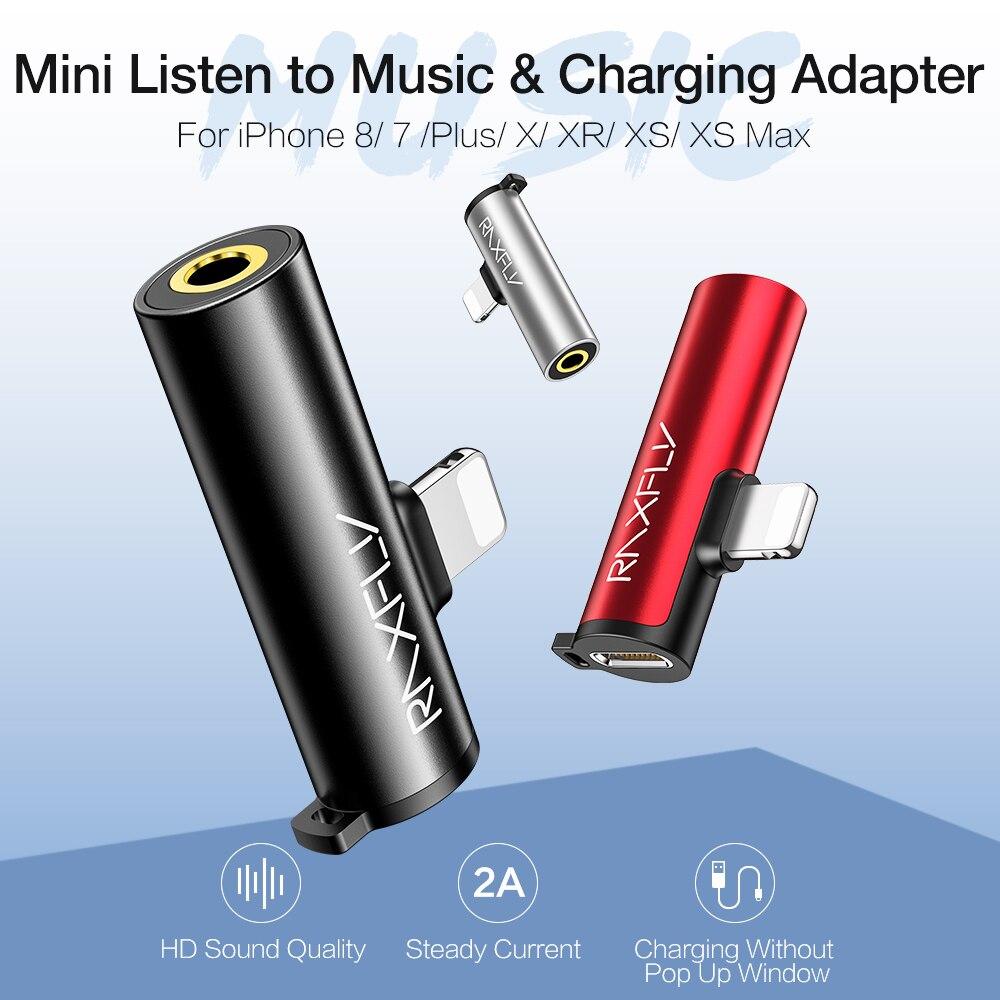 Raxfly 미니 usb 어댑터 3.5mm 헤드폰 잭 오디오 어댑터 빠른 충전 아이폰 7 8 플러스 x xs 최대 xr 충전기 변환기, 1개, 검정