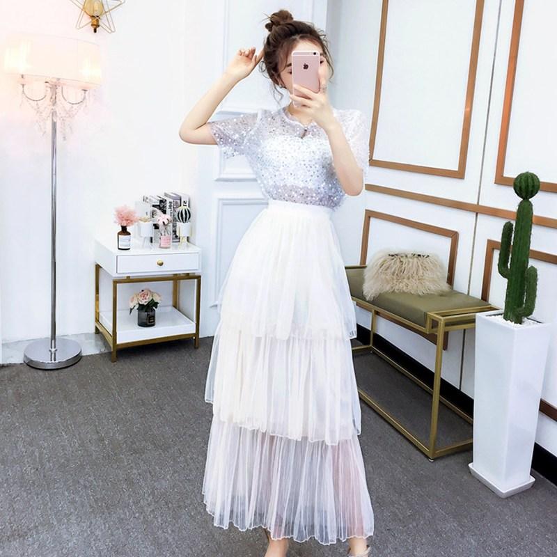 캣츠미 여름반팔티세트 셀럽 섹시 글리터 옷 케이크스커트 투수영복