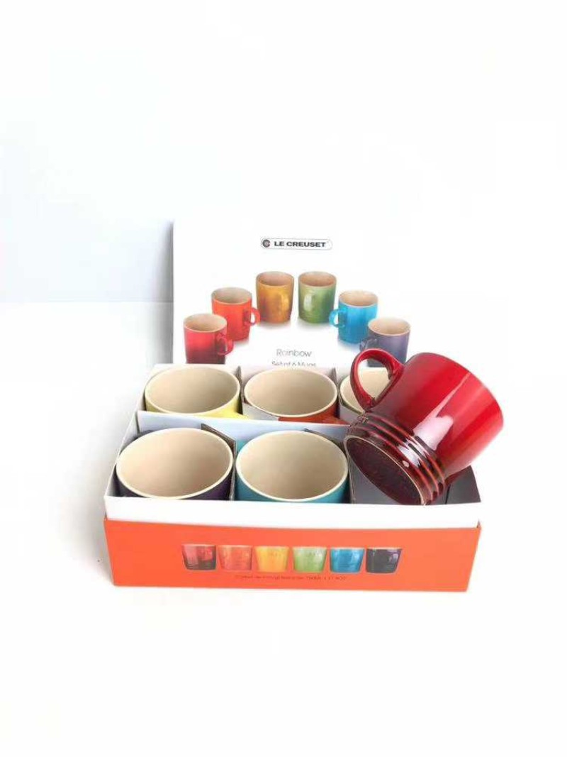 LE CREUSET 르쿠르제 머그 마시멜로 레인보우 컵, 1개, 6 색상