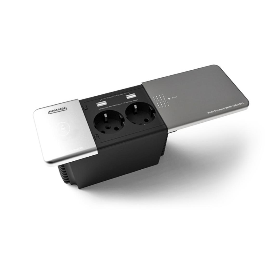 하만 빌트인 유무선 슬라이드 사각콘센트 2구 HM-1000(매립형 무선충전 USB충전 슬라이드커버), 1개