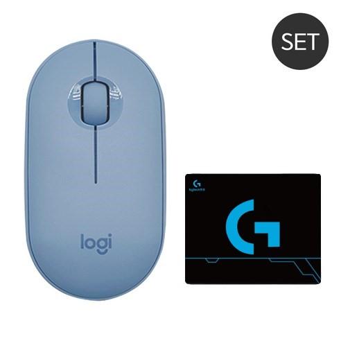 로지텍 페블 M350 무선 무소음 마우스 MR0075 정품 미개봉 (로지텍 마우스 패드 증정), 블루