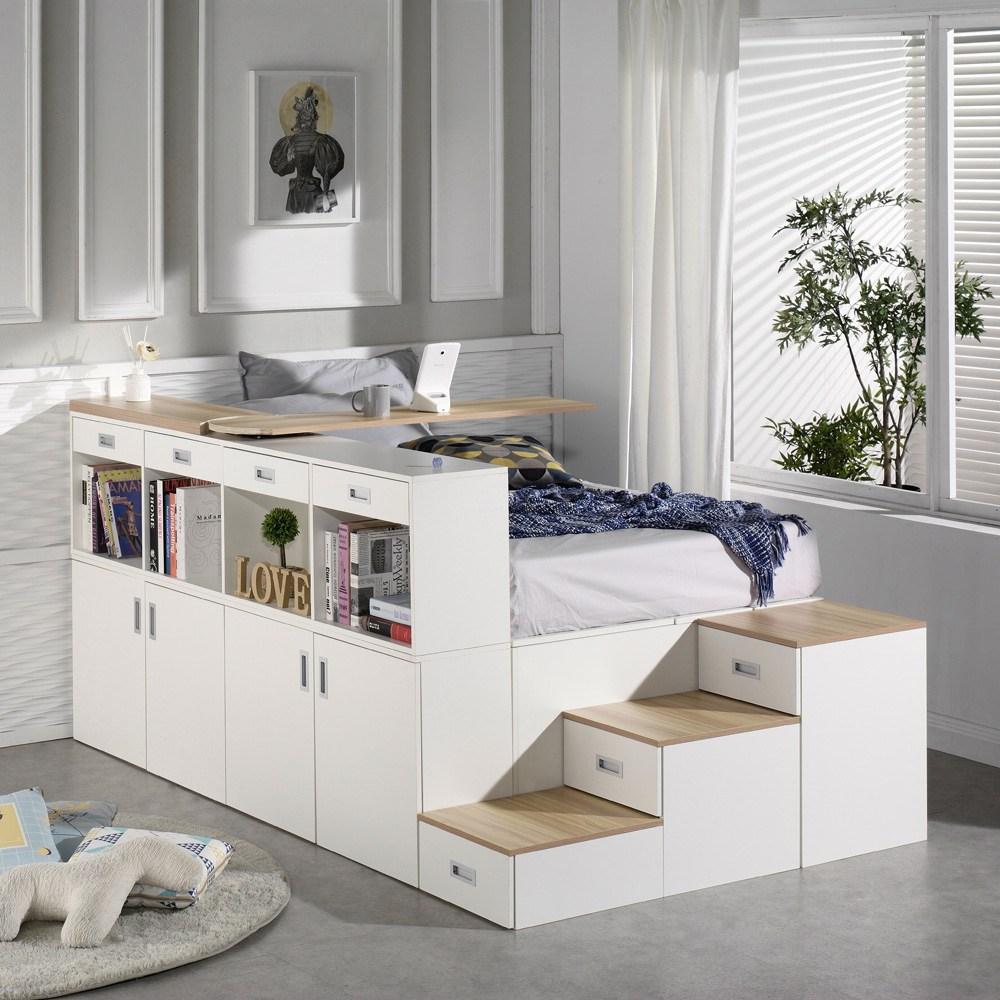 마티노가구 스텝스 평상형 수납 계단 침대, 프레임(책상&추가수납 포함)