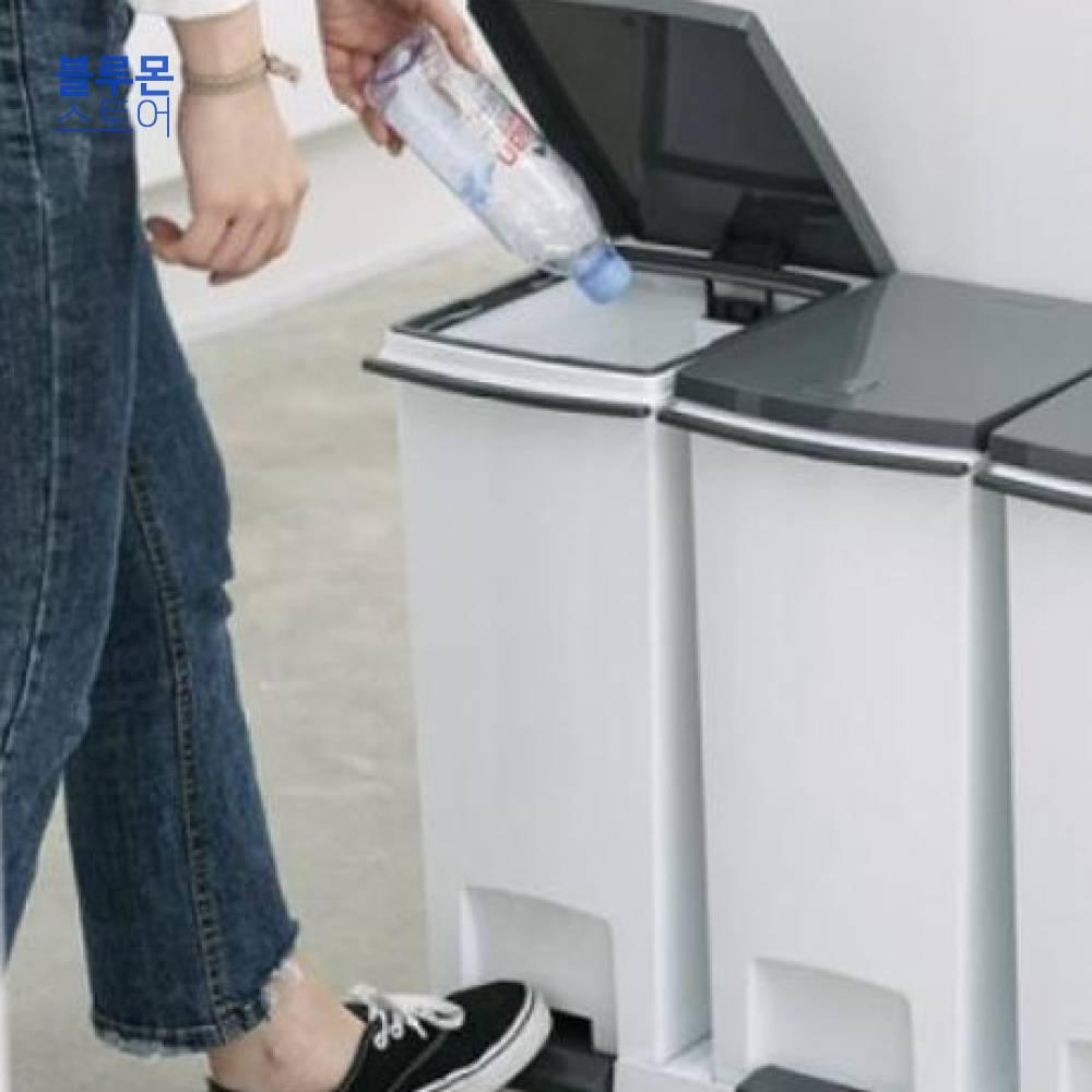 블루몬 생활용품 프랑코 페달형 분리수거함 3단 650x310x520mm(60L) 생활잡화 수납용품