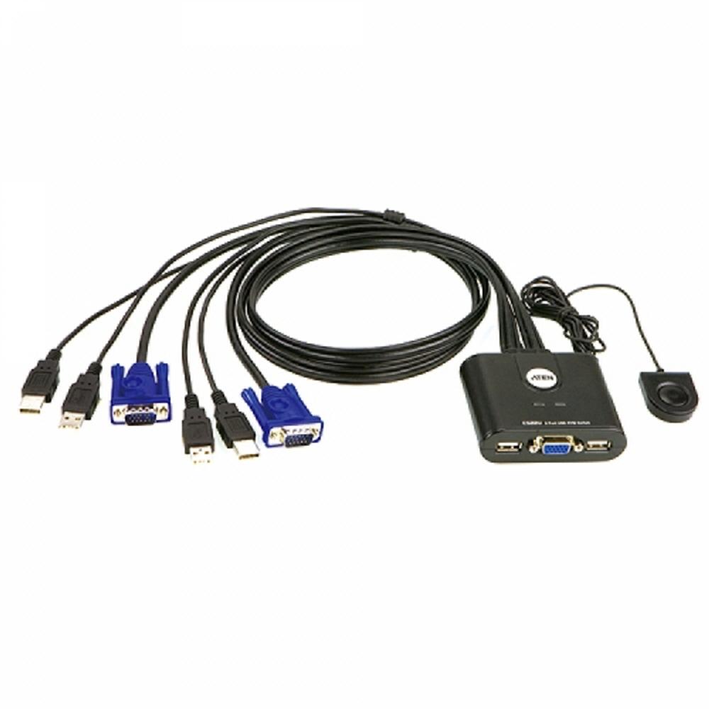 ATEN CS22U 2포트 USB VGA 케이블 일체형 KVM 스위치