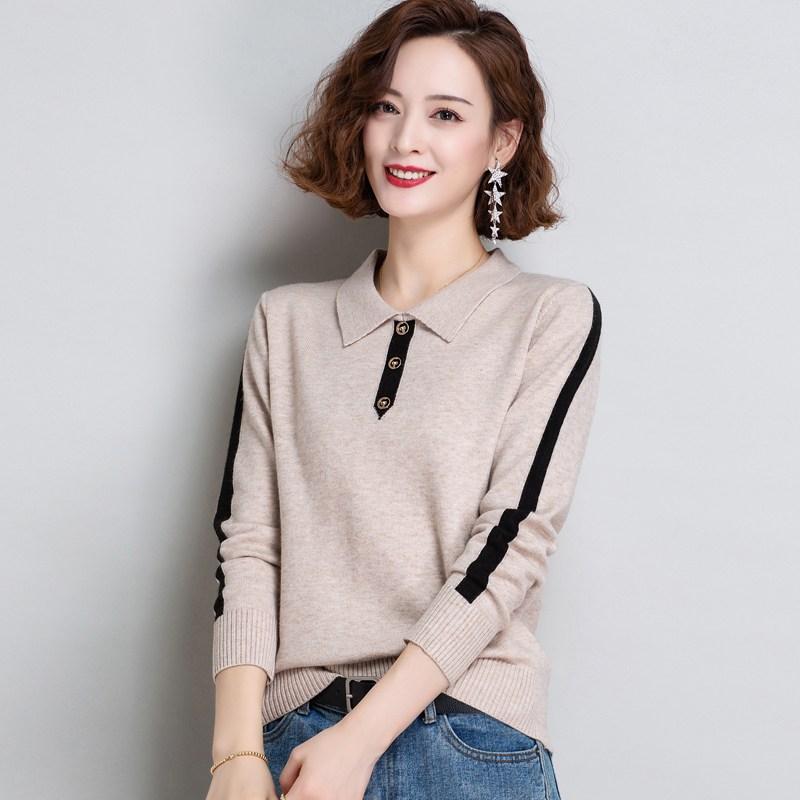 POLO 카라넥 니트 여성 얇은 가을옷 스웨터 와이드 루즈핏 아우터 플랫카라 상의 긴소매